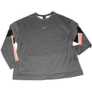 New Nike Therma Colorblock Crew Sweatshirt Gray